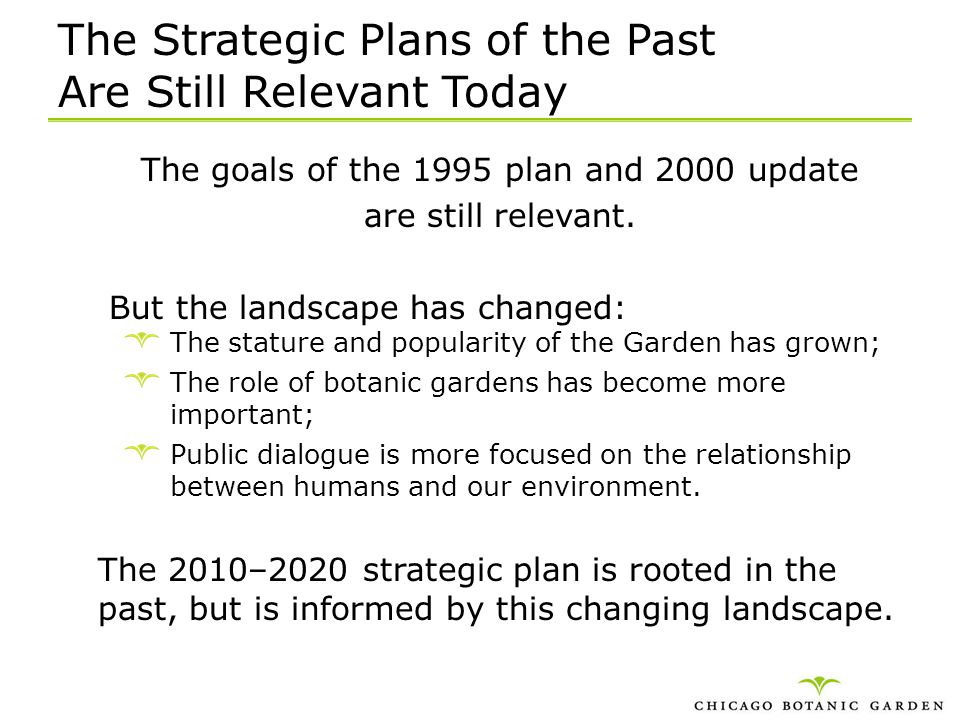 The Strategic Plans of the Past Are Still Relevant Today
