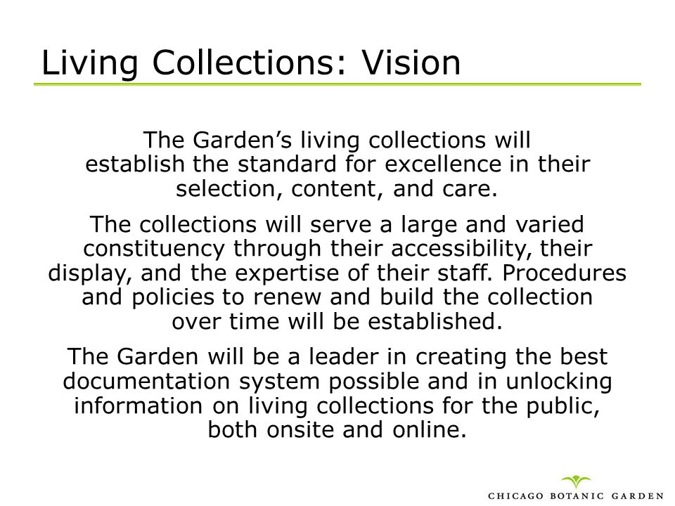 Living Collections: Vision