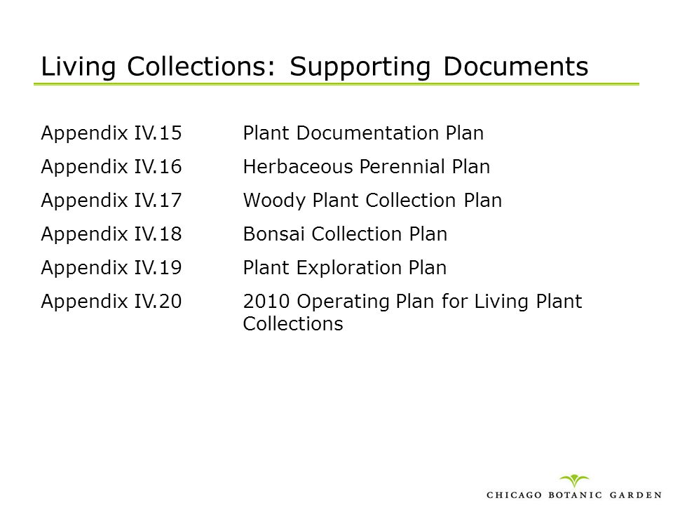 Living Collections: Supporting Documents