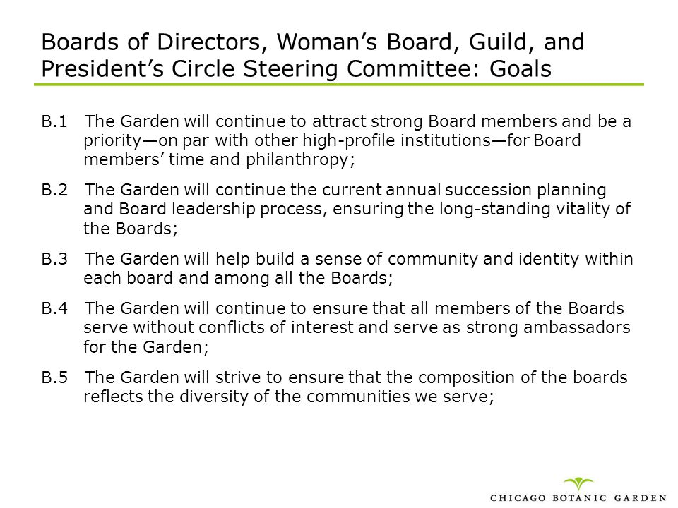 Boards of Directors, Woman's Board, Guild, and President's Circle Steering Committee: Goals