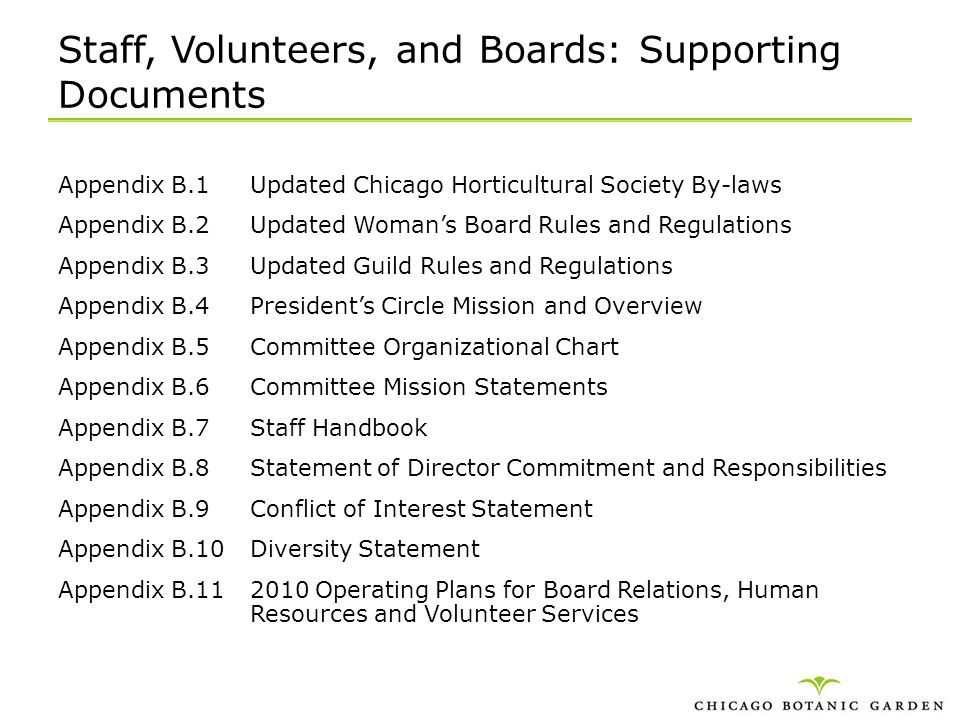 Staff, Volunteers, and Boards: Supporting Documents