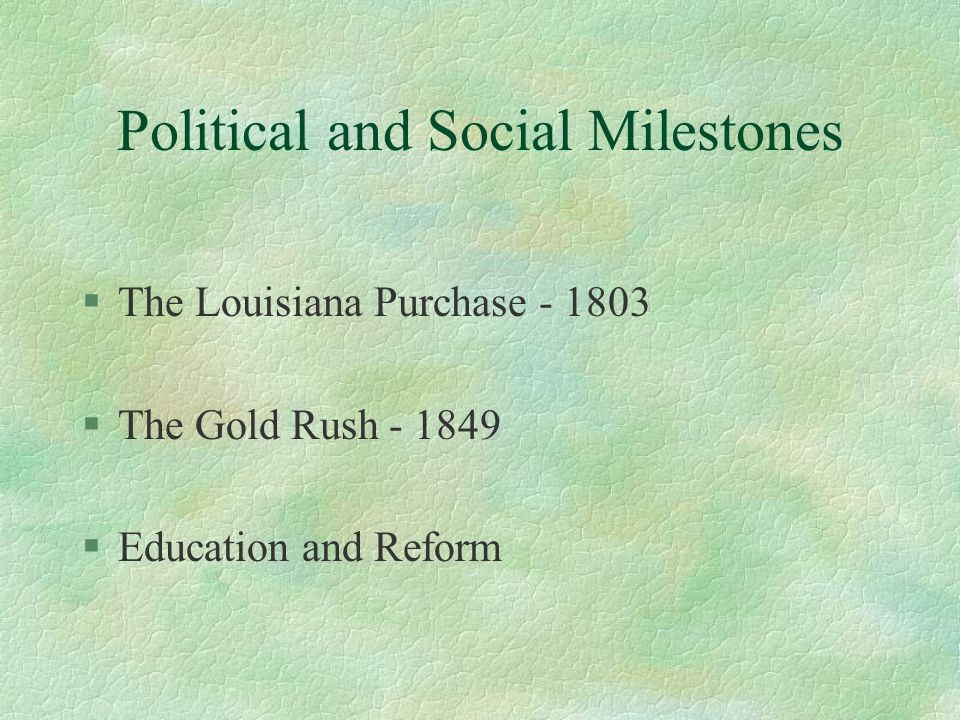 Political and Social Milestones