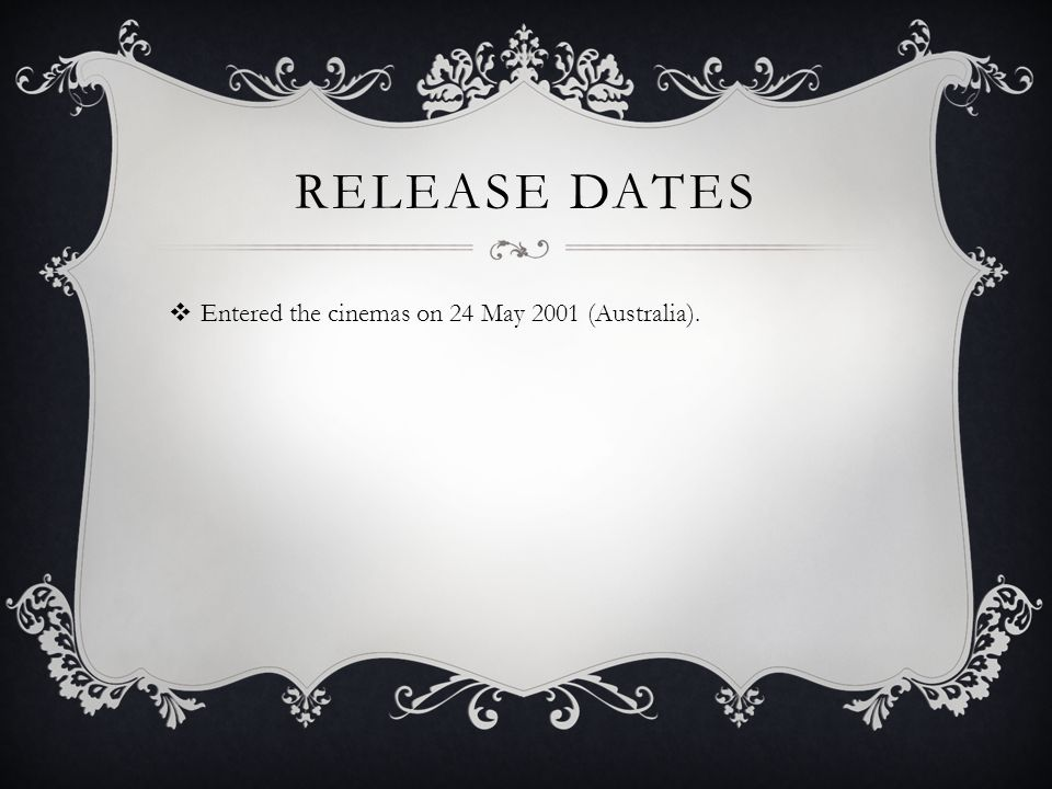 Release Dates Entered the cinemas on 24 May 2001 (Australia).