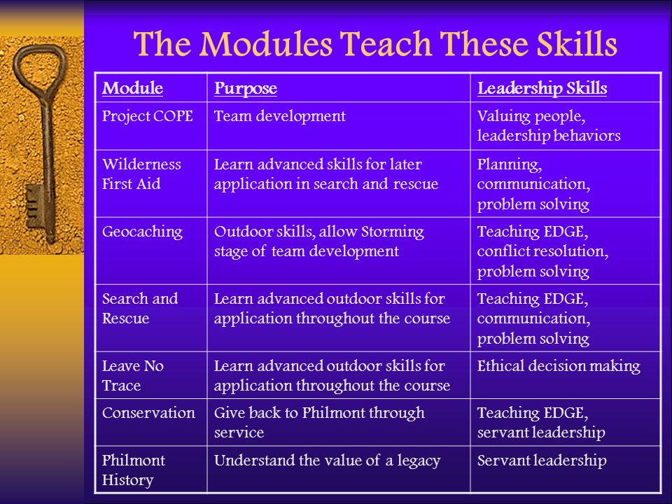 The Modules Teach These Skills