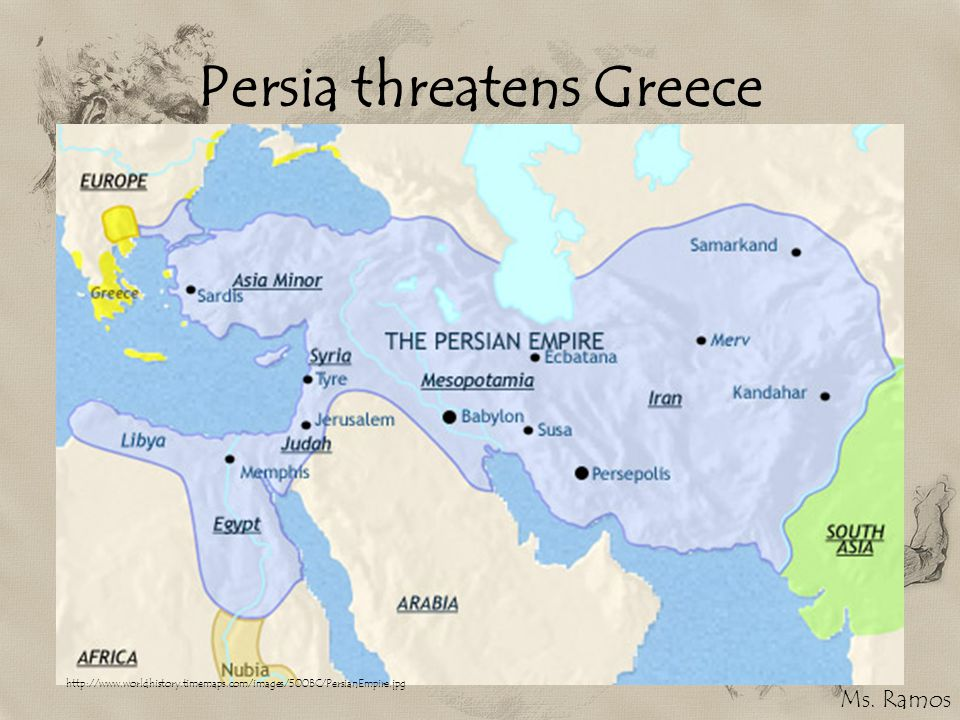 Persia threatens Greece