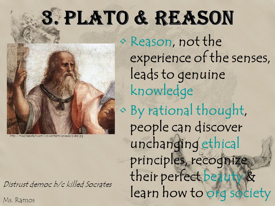 3. Plato & Reason Reason, not the experience of the senses, leads to genuine knowledge.
