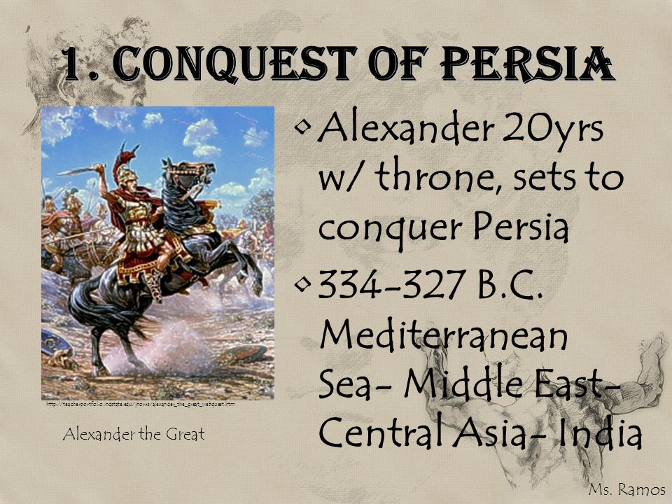 1. Conquest of Persia Alexander 20yrs w/ throne, sets to conquer Persia. 334-327 B.C. Mediterranean Sea- Middle East-Central Asia- India.