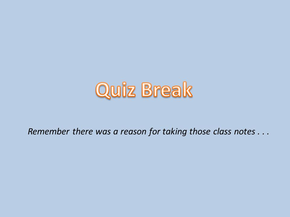 Remember there was a reason for taking those class notes . . .