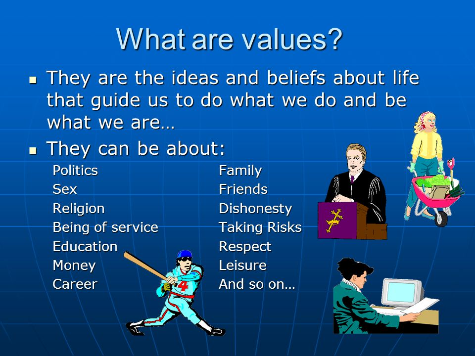 What are values They are the ideas and beliefs about life that guide us to do what we do and be what we are…