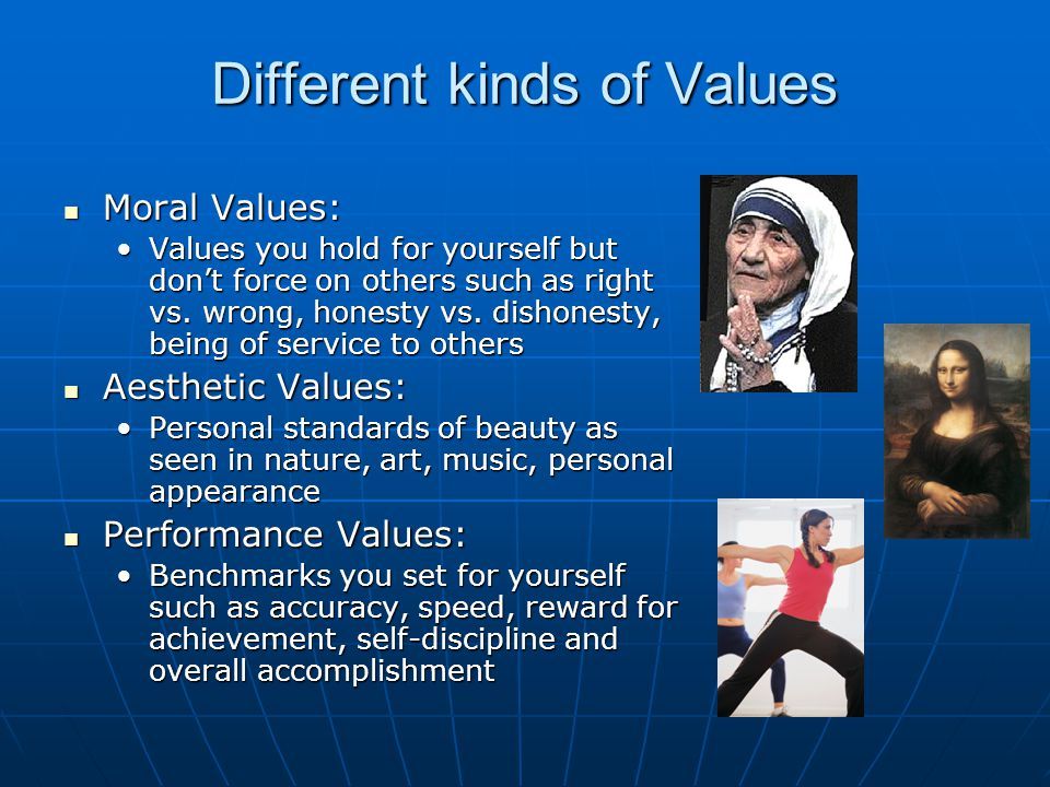 Different kinds of Values