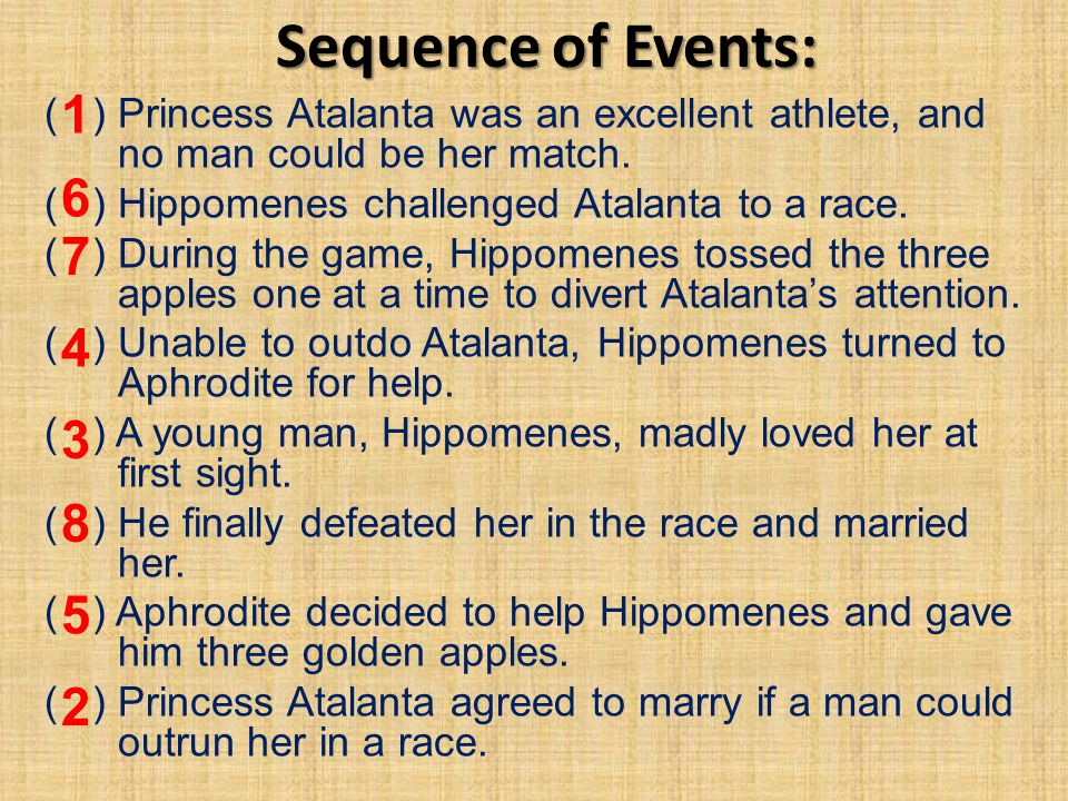 Sequence of Events: 1. ( ) Princess Atalanta was an excellent athlete, and no man could be her match.