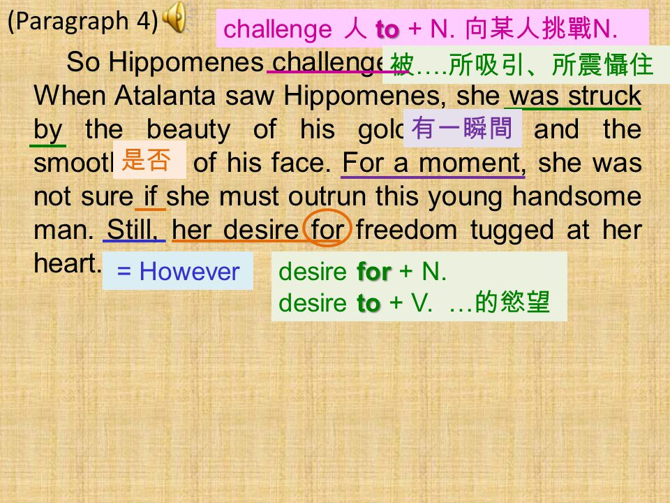 (Paragraph 4) So Hippomenes challenged Atalanta to a race