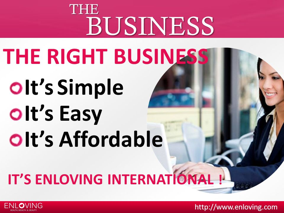 BUSINESS THE RIGHT BUSINESS It's Simple It's Easy It's Affordable