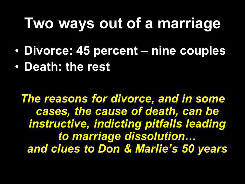 Two ways out of a marriage