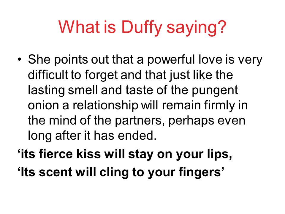 What is Duffy saying
