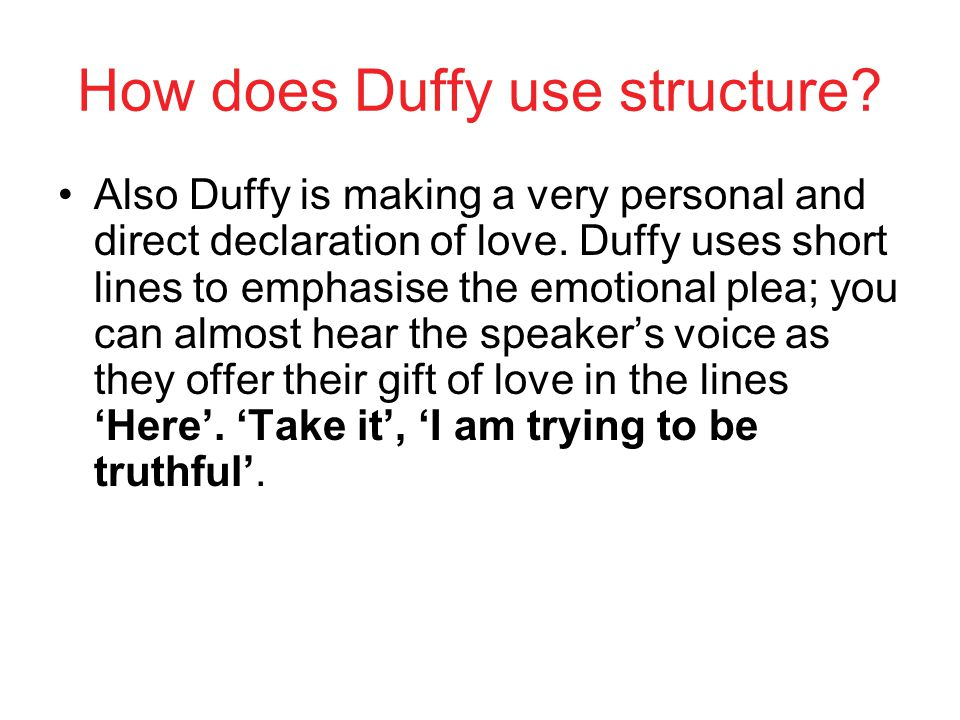 How does Duffy use structure