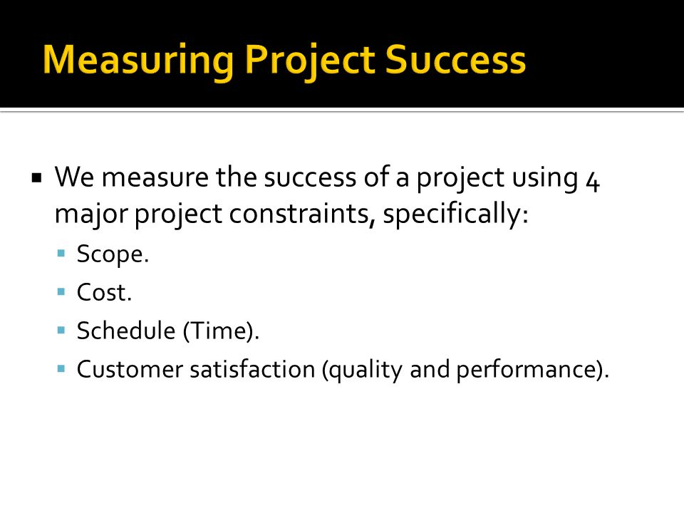 Measuring Project Success