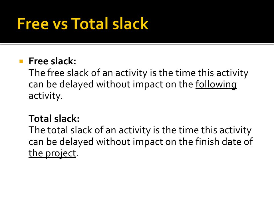 Free vs Total slack