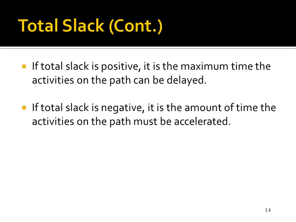 Total Slack (Cont.) If total slack is positive, it is the maximum time the activities on the path can be delayed.