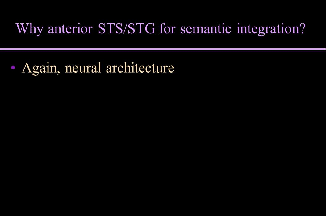 Why anterior STS/STG for semantic integration
