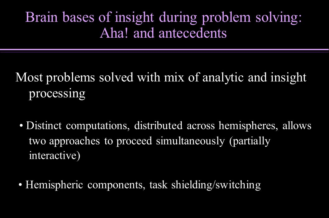 Brain bases of insight during problem solving:
