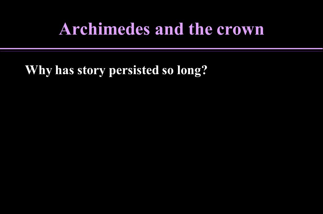 Archimedes and the crown
