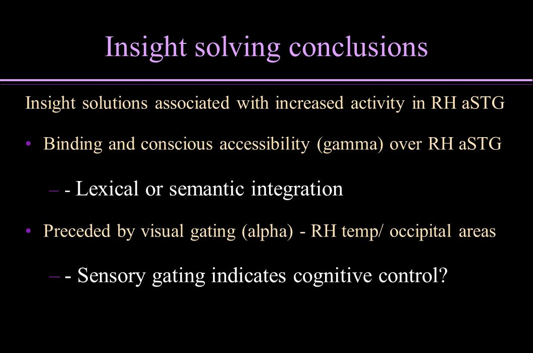 Insight solving conclusions