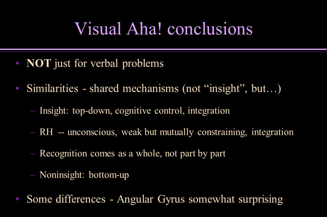 Visual Aha! conclusions