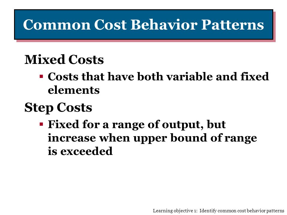 Common Cost Behavior Patterns