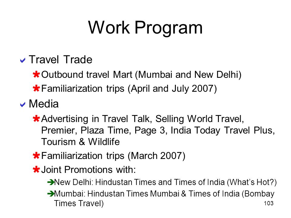 Work Program Travel Trade Media