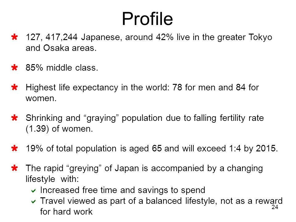 Profile 127, 417,244 Japanese, around 42% live in the greater Tokyo and Osaka areas. 85% middle class.