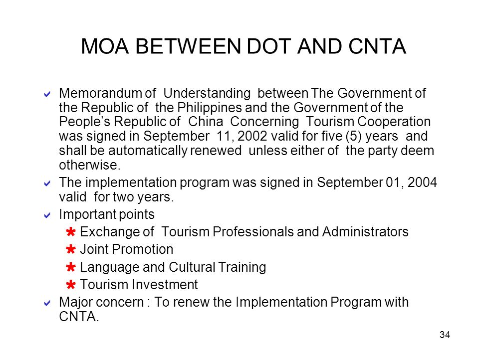 MOA BETWEEN DOT AND CNTA