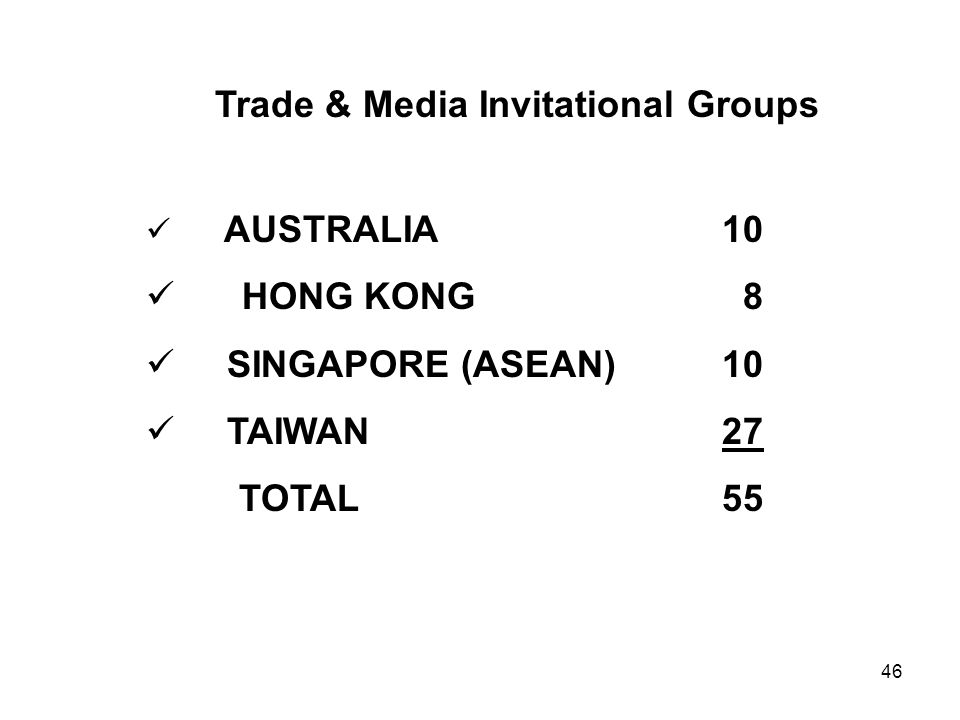 Trade & Media Invitational Groups