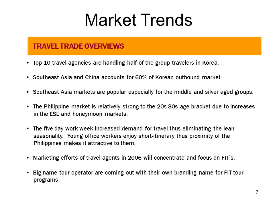 Market Trends TRAVEL TRADE OVERVIEWS