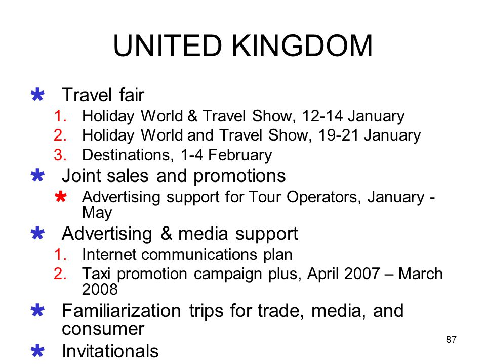 UNITED KINGDOM Travel fair Joint sales and promotions