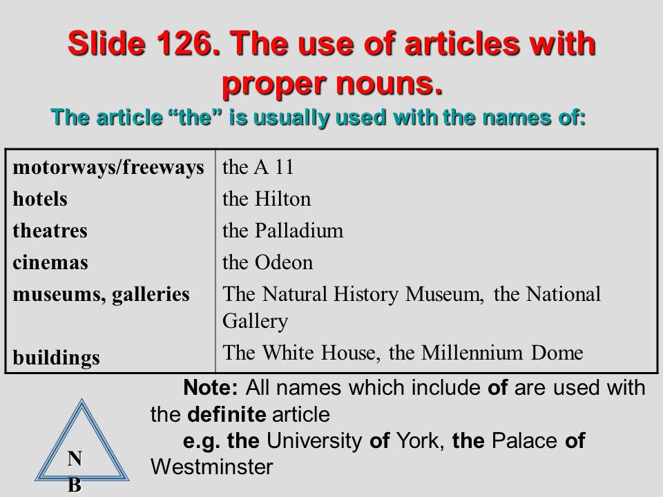 Slide 126. The use of articles with proper nouns.