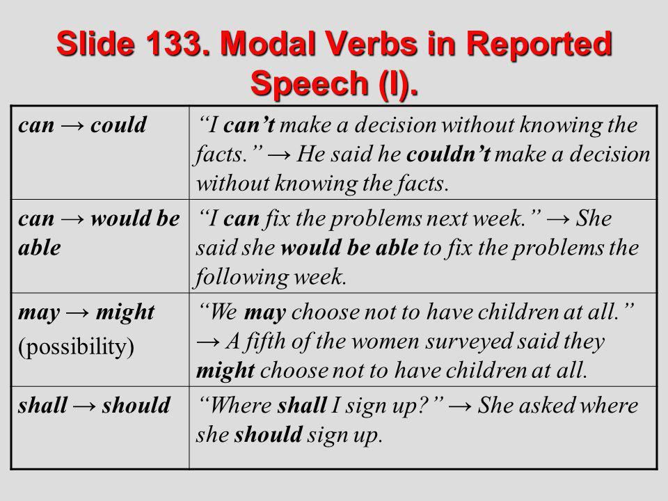 Slide 133. Modal Verbs in Reported Speech (I).