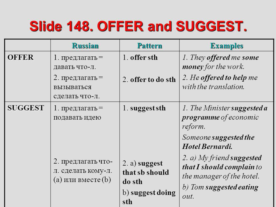 Slide 148. OFFER and SUGGEST.