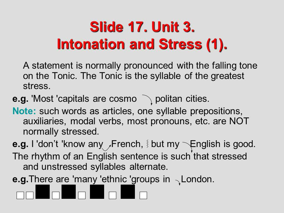 Slide 17. Unit 3. Intonation and Stress (1).