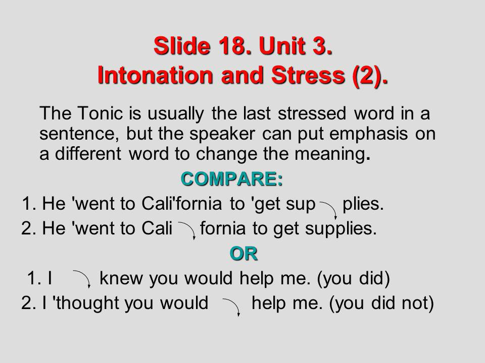 Slide 18. Unit 3. Intonation and Stress (2).