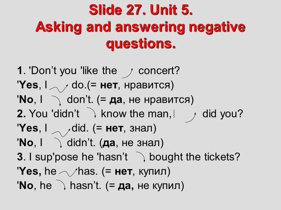 Slide 27. Unit 5. Asking and answering negative questions.