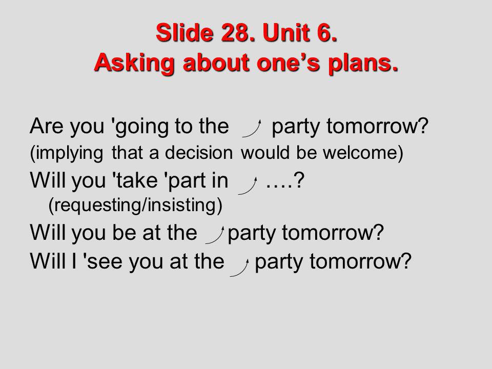 Slide 28. Unit 6. Asking about one's plans.