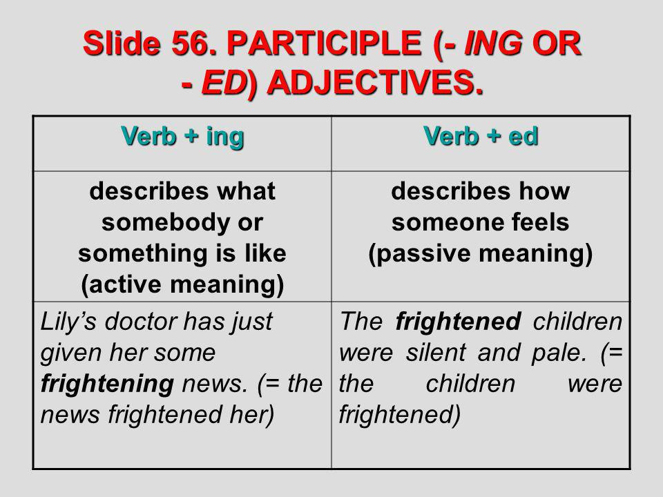 Slide 56. PARTICIPLE (- ING OR - ED) ADJECTIVES.