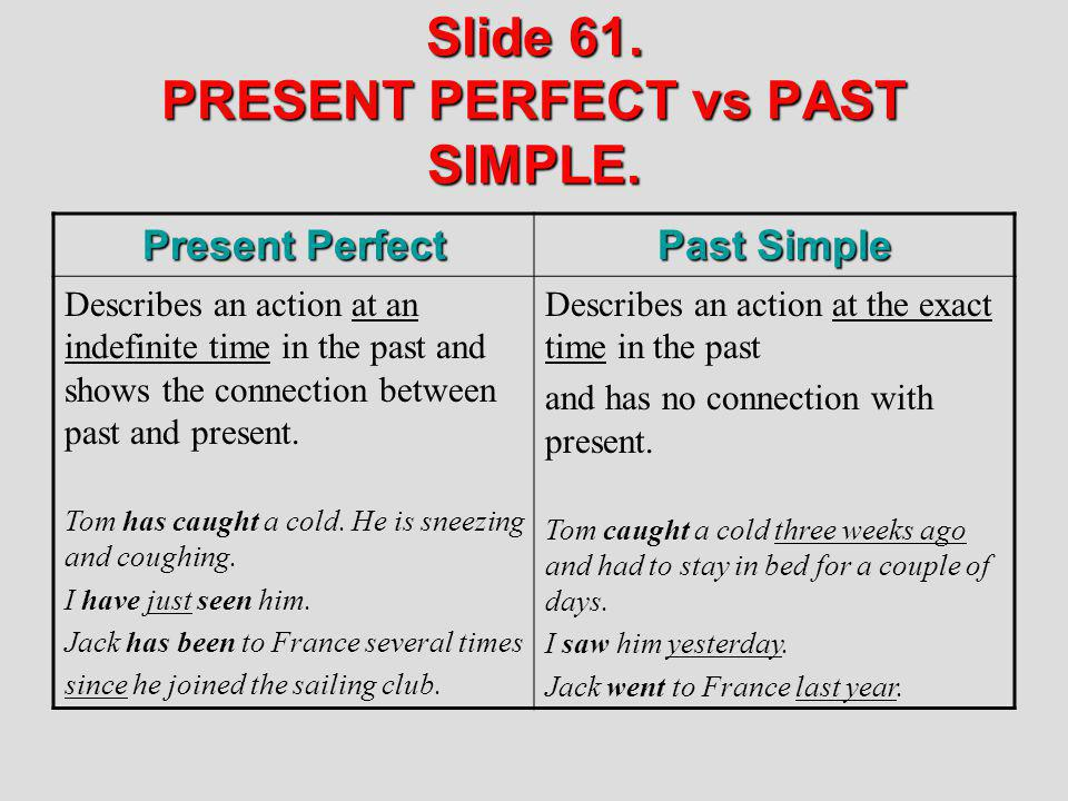 Slide 61. PRESENT PERFECT vs PAST SIMPLE.
