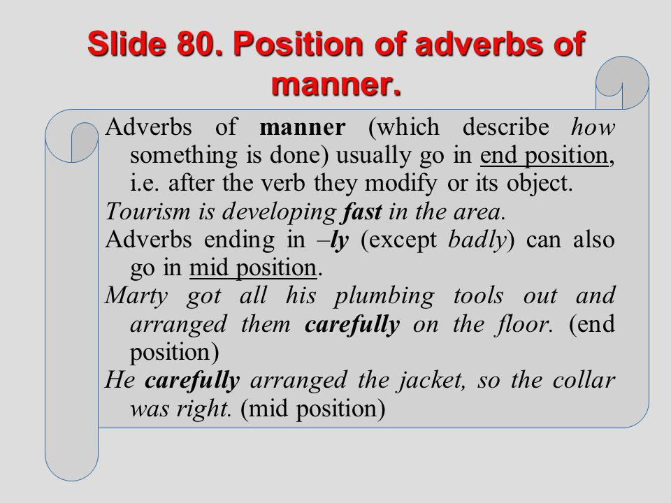 Slide 80. Position of adverbs of manner.