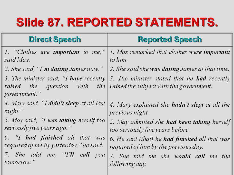 Slide 87. REPORTED STATEMENTS.