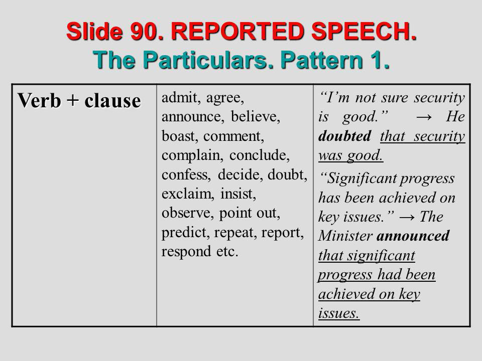 Slide 90. REPORTED SPEECH. The Particulars. Pattern 1.