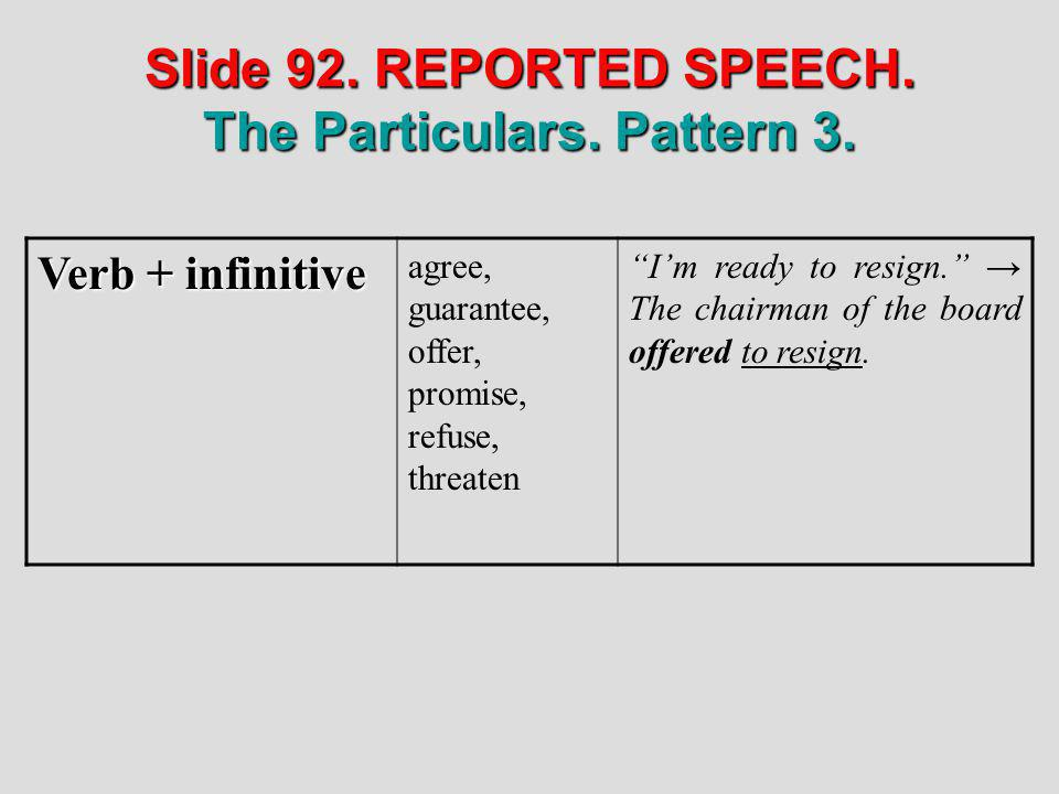 Slide 92. REPORTED SPEECH. The Particulars. Pattern 3.