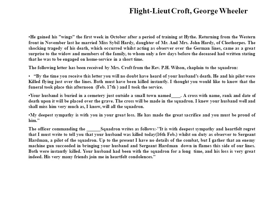 Flight-Lieut Croft, George Wheeler