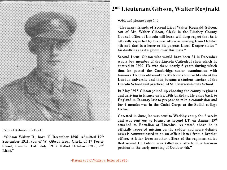 2nd Lieutenant Gibson, Walter Reginald